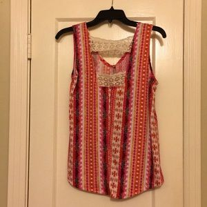 Tank Top with Crochet Insets
